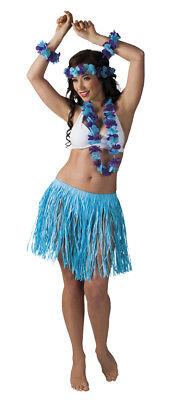 blaues Hawaii-Set: Halskette, Haarband, Armband, Rock - Aloha Party Beachparty
