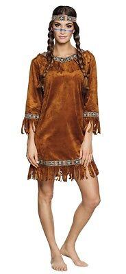Scheues Reh Indianerin Damen Kostüm Wildleder Optik Gr. S Erwachsene Squaw Kleid