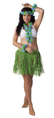 grünes Hawaii-Set: Halskette, Haarband, Armband, Rock - Aloha Party Beachparty
