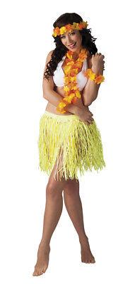 gelbes Hawaii-Set: Halskette, Haarband, Armband, Rock - Aloha Party Beachparty