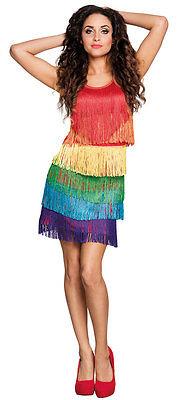 Regenbogen Kostüm (Flapper Kleid Regenbogen Kostüm NEU - Damen Karneval Fasching Verkleidung Kostüm)