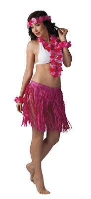 rosa Hawaii-Set: Halskette, Haarband, Armband, Rock - Aloha Party Beachparty