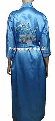 Bestickte Satin-robe (Bestickt Fliegend Crane Seide Satin Kimono Robe Nachtwäsche W/Taillenband)