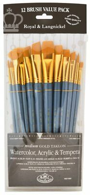 Taklon Set (Royal & Langnickel Medium Gold Taklon Paint Brushes Set of 12 RSET-9307 )