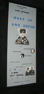 Original Hand Made Insert WAKE UP & DREAM Columbo PRYOR Knight DEVINE Doucet