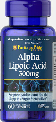 Puritan's Pride Alpha Lipoic Acid Supports Sugar Metabolism 300 mgx60 Capsules