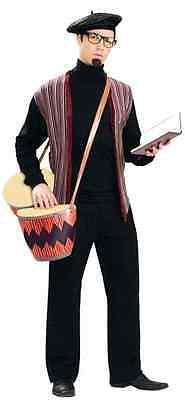 Beatnik Costume 1950's- Early 60's 2 Piece Black  Multi Turtleneck/Vest & Beret