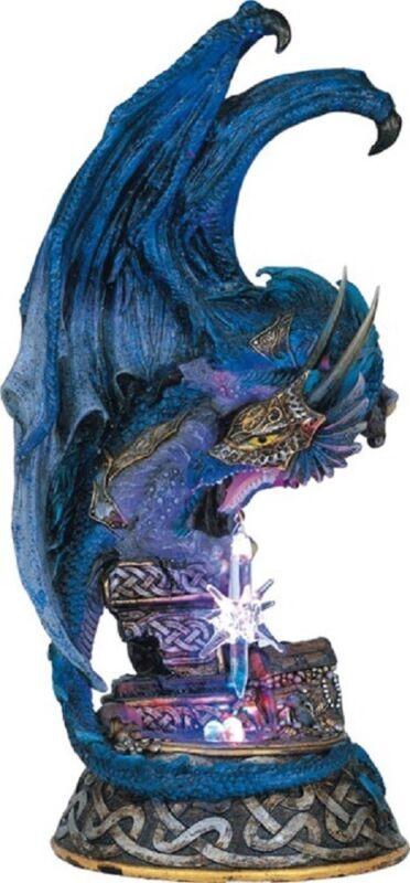 Blue Dragon Light Up LED Medieval Fantasy Figurine Lighted Statue Decoration New