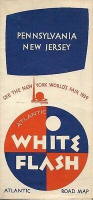 1939 ATLANTIC WHITE FLASH New York World's Fair Road Map PENNSYLVANIA NEW JERSEY