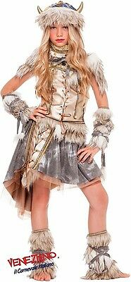 Italian Made Girls Deluxe Viking Halloween Fancy Dress Costume Outfit 3-10 - Viking Costume Girl