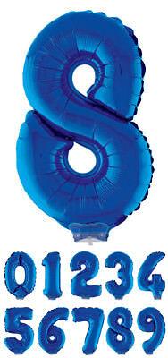 Zahlen Folienballon 41 cm mit Stab - Blau Party Geburtstagsdekoration Luftballon ()