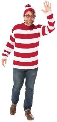 Where's Waldo Deluxe Plus Men's Costume Knit Sweater & Glasses Halloween Dress](Waldo Costume Men)