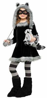 Süßes Mädchen Kostüm - Waschbär Fuzzy - Fell Plüsch Kinderkostüm Kleid - Süßes Mädchen Kostüm