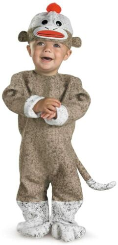 Disguise Brown Sock Monkey Costume Baby Unisex Size 12-18M 99904
