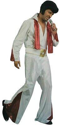Adult Mens Rock Star Elvis Vegas White Suit Music King Halloween Costume Set New - Star King Halloween