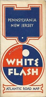 1938 ATLANTIC WHITE FLASH Road Map PENNSYLVANIA NEW JERSEY Pittsburgh Scranton