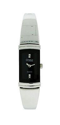 Caravelle by Bulova Diamond 43P100 Women's Black Rectangle Bangle Style Watch