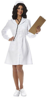 Nurse Costume 50's-60's Style White Knee Length Button Front Dress & Cap ](60s Style Costumes)