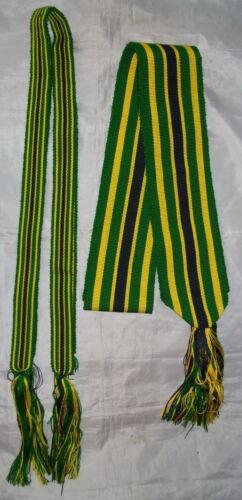 "Loom Woven Sash/Leg Tie Set SLT05-(Green/Yellow)-Mountain Man-Re-Enactor-""NEW"""