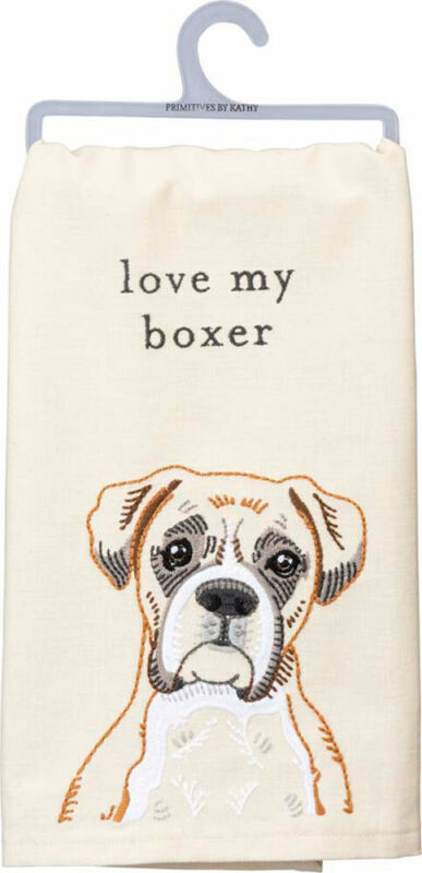 Boxer Love Embroidered Dish Towel
