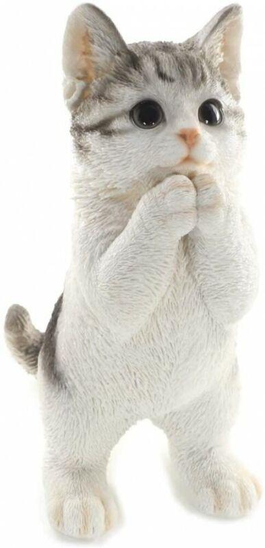 Fancy Maneki neko Silver tabby Cute Cat Standing 24.5 cm from Japan