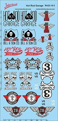 Hot Rod Garage (Hot Rod Garage Decals rot 1/18 Tuning Siebdruck RA22-18-2)