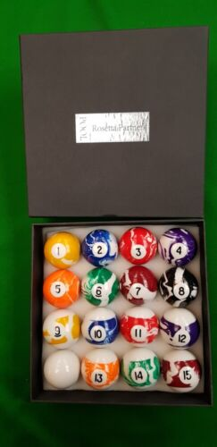 "2"" 51mm ROSETTA MARBLE MARBELISED POOL BALLS 1 7/8"" Cue ball 47.5mm, MARBELIZED"