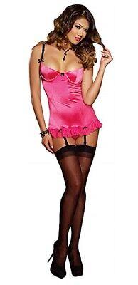 Dreamgirl Fuchsia Pink & Black Babydoll Set Satin Net Lingerie Negligee Medium Net Baby Doll Set
