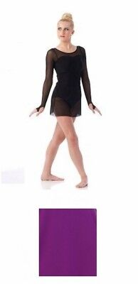 Adult XL Violet color Contemporary Ballet Dance Dress Costume Sheer Long Sleeved