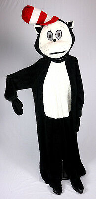 Cat With Hat Black And White Faux Fur Mascot Costume Cartoon Character - Black Character Costumes
