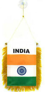 "Wholesale lot 3 India Mini Flag 4""x6"" Window Banner w/ suction cup"