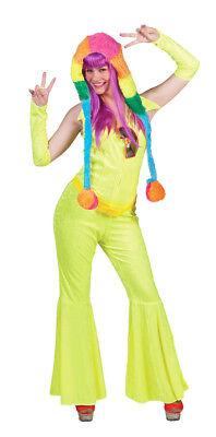 Disco Rave Anzug Neon Gelb - Hippie Retro Kostüm Damen 70er Jahre Party - Damen Hippie Kostüm