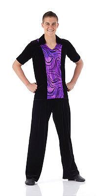 Dance Shirt Mens Boys Costume Jazz Ballet Tap Guys 8 Colors Flocked Foil - Boys Ballet Costumes