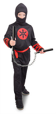 Kinder Kostüm NINJA Gr 116/134 Schwarz Rot Karneval Kostüm - (Jungen Schwarzen Ninja Kostüm)