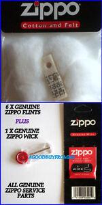 1-X-ZIPPO-COTTON-LIGHTER-WADDING-FELT-1-x-WICK-6-X-FLINTS-GENUINE-SERVICE-PARTS