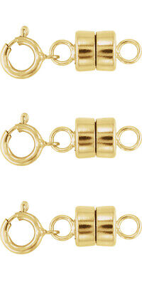 3 - NEW 14K Yellow Gold Filled Round Magnetic Clasp with Spring (3 Ring Clasp)