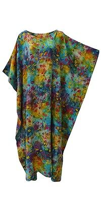 GLÜHEND Leuchtend Krawatte Batik Blatt Kaftan Cool Weich Lang Damenkleid Plus ()