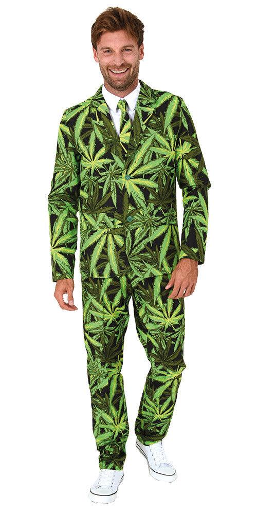 Anzug Smoking Cannabis Hanf Gras Herrenkostüm Karneval Kostüm 5 Größen Fasching