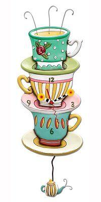 Allen Designs Spot of Tea Pendulum Childs Kids Whimsical Wall Clock