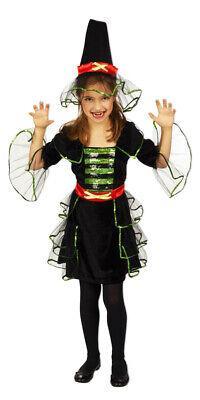 Hexenkostüm Luna für Mädchen Glitzer Kleid Hexenhut Karneval Gr. 104 128 %SALE%
