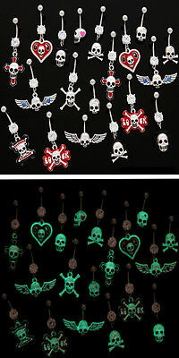 B#67 - 10pc Glow-in-the-Dark Skull Mix Dangle Belly Rings Navel naval wholesale