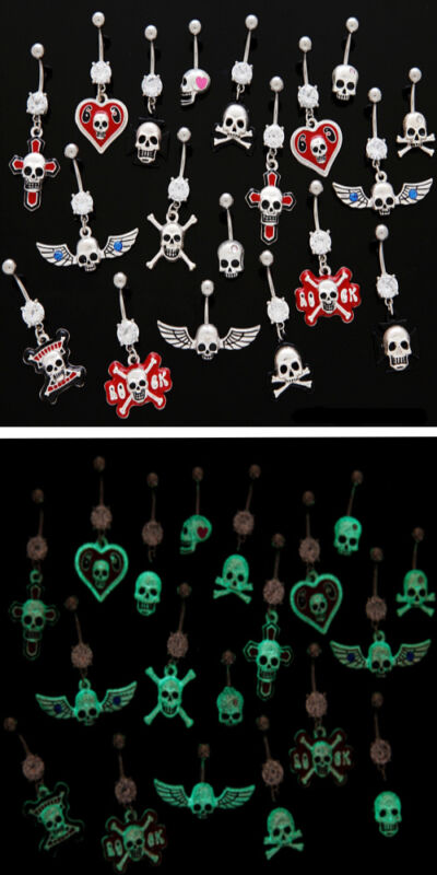 B#67 - 10pc Glow-in-the-Dark Skull Mix Dangle Belly Rings Navel naval wholesale
