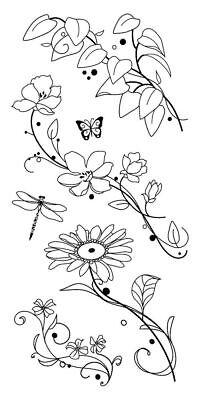 Beauty Stems - Beauty Stems Flower & Leaves Clear Acrylic Stamp Set by Inkadinkado 98973 NEW!