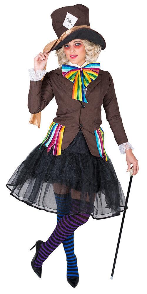 Damenkostüm Verrückter Hutmacher Hutmacherin Karneval Fasching Kostüm Gr  M-L-XL