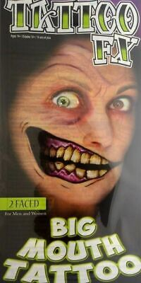Makeup Halloween Two Faces (Tinsley Transfers Two Faced Big Mouth Temporary Tattoo FX Halloween)