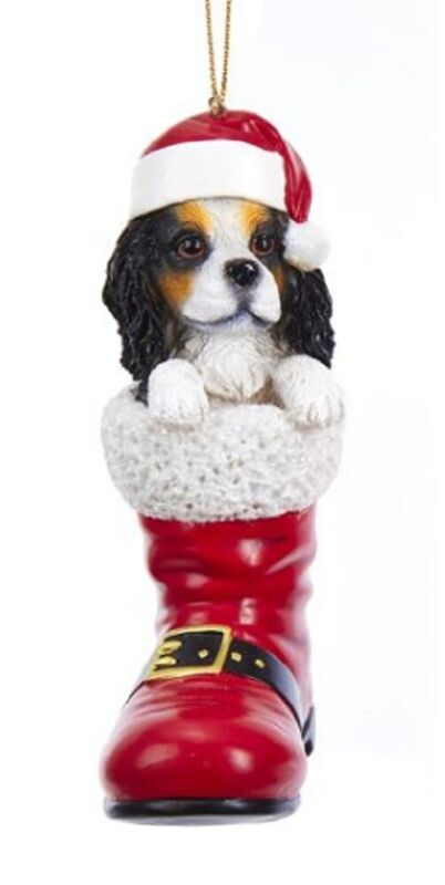Cavalier King Charles Santa Boot Ornament Black