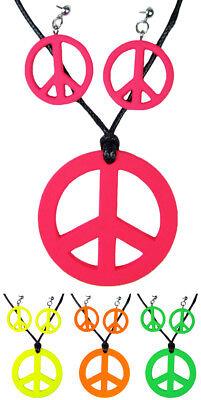 Hippie Peace Schmuck Set 3-tlg. Halskette Ohrringe Retro 70er Jahre Kostüm Party