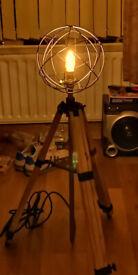tripod floor lamp 3 way height adjustable , restored to look antique but modern