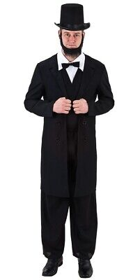 Abraham Lincoln Outfit (Mens Abraham Lincoln USA President 4th July Carnival Fancy Dress Costume Outfit)