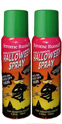 Jerome Russell Halloween Spray GREEN Temporary Hair Color TWO PACK  *Fast Ship* - Halloween Hair Spray